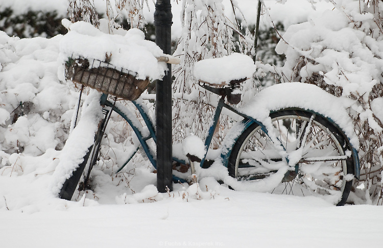 Fresh snow covers a vintage bicycle.