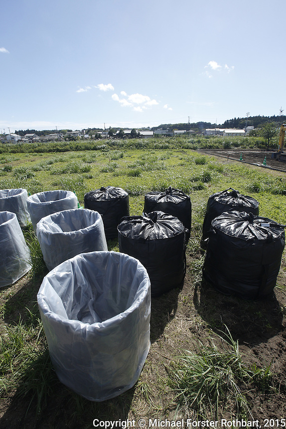 At a Fukushima decontamination site in Tomioka, Japan, being cleaned by the Maruto construction company, laborers load slightly radioactive dirt into cubic meter bags. In 2015, four and a half years after the Fukushima Daiichi nuclear power plant disaster, workers are decontaminating homes and commercial properties. Almost all developed properties in Tomioka are now getting cleaned or demolished. Full caption to come.<br /> <br /> &copy; Michael Forster Rothbart Photography<br /> www.mfrphoto.com &bull; 607-267-4893<br /> 34 Spruce St, Oneonta, NY 13820<br /> 86 Three Mile Pond Rd, Vassalboro, ME 04989<br /> info@mfrphoto.com<br /> Photo by: Michael Forster Rothbart<br /> Date:  10/2/2015<br /> File#:  Canon &mdash; Canon EOS 5D Mark III digital camera frame A19012