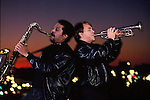 March 1992-  The Memphis Horns celebrated 25 years together in 1992 with a concert in the Pyramid which was attended by many of the artists they had played with. Trumpeter Wayne Jackson (rt) and his musical partner, saxophonist Andrew Love, make up one of the most sought after horn sections in the world.