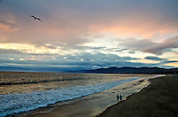Santa Monica Beach amid the sunset on Wednesday, March 6, 2013.