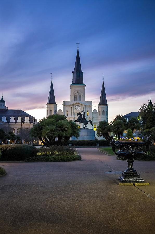 St. Louis Cathedral as seen from Jackson Square in New Orleans at dusk.