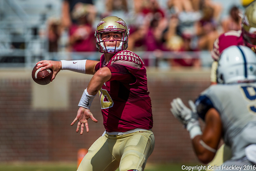 TALLAHASSEE, FLA 9/10/16-Florida State quarterback Sean Maguire throws against Charleston Southern during fourth quarter action Saturday at Doak Campbell Stadium in Tallahassee. <br /> COLIN HACKLEY PHOTO