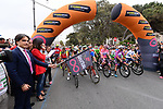 Riders lined up before the start of Stage 6 of the 100th edition of the Giro d'Italia 2017, running 217km from Reggio Calabria to Terme Luigiane, Italy. 11th May 2017.<br /> Picture: LaPresse/Gian Mattia D'Alberto   Cyclefile<br /> <br /> <br /> All photos usage must carry mandatory copyright credit (&copy; Cyclefile   LaPresse/Gian Mattia D'Alberto)