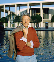 American Film and Theater Producer Gordon Davidson in front of the Mark Taper Forum Theater in Los Angeles, California. January 1982. Photo by John G. Zimmerman