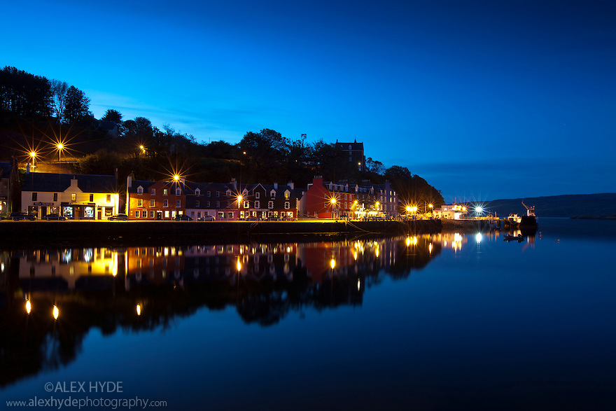 Tobermory harbour by night, Isle of Mull, Scotland.