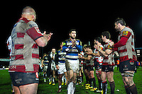 Matt Banahan of Bath Rugby leads his team-mates off the field after the match. Aviva Premiership match, between Gloucester Rugby and Bath Rugby on March 26, 2016 at Kingsholm Stadium in Gloucester, England. Photo by: Patrick Khachfe / Onside Images