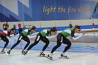 SCHAATSEN: SALT LAKE CITY: Utah Olympic Oval, 12-11-2013, Essent ISU World Cup, training, Konrad Niedzwiedzki, Christijn Groeneveld, Douwe de Vries, Koen Verweij, ©foto Martin de Jong