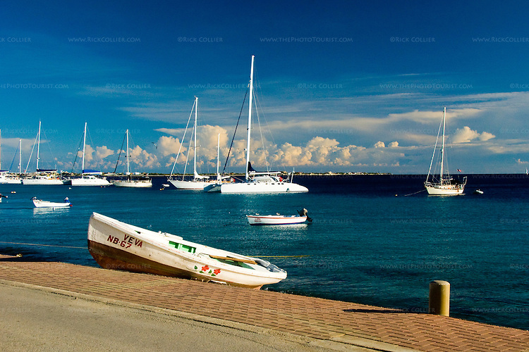 Kralendijk, Bonaire, Netherland Antilles -- The waterfront and moored pleasure boats front a Caribbean view at Kralendijk, Bonaire.