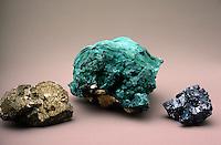 CHALCOPYRITE AND MALACHITE<br /> Three Ores of Copper Compared<br /> Chalcopyrite, a copper iron sulfate mineral, and malachite, a copper carbonate mineral, and chalcoite, a copper sulfide mineral.