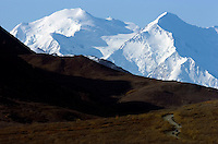 Mount McKinley's twin peaks tower above a road lottery permit winner on Sept. 15, 2008. At left is the 20,320-foot South Peak. At right is the 19,470-foot North Peak.
