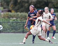 Pepperdine University forward Lynn Williams (25) passes the ball. Pepperdine University defeated Boston College,1-0, at Soldiers Field Soccer Stadium, on September 29, 2012.