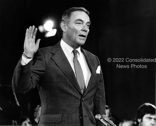 """General Alexander Haig (United States Army, ret.), U.S. President-elect Ronald Reagan's nominee to be U.S. Secretary of State is sworn-in to testify during confirmation hearings on his nomination before the United States Senate Foreign Relations Committee on January 9, 1981..Credit: Benjamin E. """"Gene"""" Forte / CNP"""