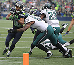 Seattle Seahawks Wide receiver Tyler Lockett (16) is taken out of bounds by  Philadelphia Eagles linebacker Nigel Bradham (53) after catching a 30-yard pass from Russell Wilson at CenturyLink Field in Seattle, Washington on November 20, 2016.  Seahawks beat the Eagles 26-15.    ©2016. Jim Bryant Photo. All Rights Reserved.