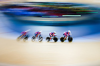 Picture by Charlie Forgham-Bailey/SWpix.com - 04/03/2016 - Cycling - 2016 UCI Track Cycling World Championships, Day 3 - Lee Valley VeloPark, London, England - USA in a action against Australia in the Women's Team Pursuit First Round