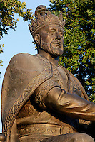 Detail of statue of Amir Timur, Samarkand, Uzbekistan, pictured on July 19, 2010, at dawn. Amir Timur (1336-1405) ruler and warrior founded the Timurid dynasty. He is also known as Tamerlane, or Tamberlaine. Samarkand, a city on the Silk Road, founded as Afrosiab in the 7th century BC, is a meeting point for the world's cultures. Its most important development was in the Timurid period, 14th to 15th centuries. Picture by Manuel Cohen.
