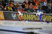 SPEED SKATING: CALGARY: Olympic Oval, 08-03-2015, ISU World Championships Allround, Denni Morrison (CAN), Denis Yuskov (RUS), ©foto Martin de Jong
