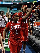 Myisha Goodwin-Coleman thanks the crowd after the game. NC State defeated Duke 75-73 during quarter finals of the 2012 ACC Women's Basketball Tournament at the Greensboro Coliseum in Greensboro, NC. Photo by Al Drago.