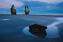 Sea stacks in North Taranaki Bight at dawn, North Island, New Zealand
