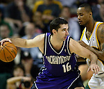 Sacramento Kings' Predrag Stojakovic of Serbia-Montenergo, L, moves against Seattle Supersonics' Rashard Lewis in the first period  of their  Western Conference First Round Game #2 at Key Arena in Seattle, Washington Thursday, 21 April  2005.  Jim Bryant Photo. &copy;2010. All Rights Reserved.