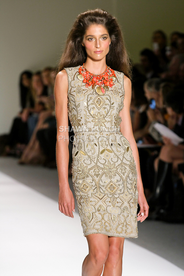 Model walks runway in an outfit by Naeem Khan, for the Naeem Khan Spring Summer 2011 Collection fashion show, during Mercedes-Benz Fashion Week, September 16, 2010.