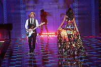 Lais Ribeiro and Ed Sheeran on the runway at the Victoria's Secret Fashion Show 2014 London held at Earl's Court, London. 02/12/2014 Picture by: James Smith / Featureflash