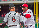 7 April 2016: Washington Nationals Manager Dusty Baker greets Miami Marlins Manager Don Mattingly  during team introductions prior to the Nationals' Home Opening Game against the Miami Marlins at Nationals Park in Washington, DC. The Marlins defeated the Nationals 6-4 in their first meeting of the 2016 MLB season. Mandatory Credit: Ed Wolfstein Photo *** RAW (NEF) Image File Available ***