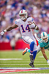 14 September 2014: Buffalo Bills wide receiver Sammy Watkins runs on a pass-rush play in the second quarter against the Miami Dolphins at Ralph Wilson Stadium in Orchard Park, NY. The Bills defeated the Dolphins 29-10 to win their home opener and start the season with a 2-0 record. Mandatory Credit: Ed Wolfstein Photo *** RAW (NEF) Image File Available ***