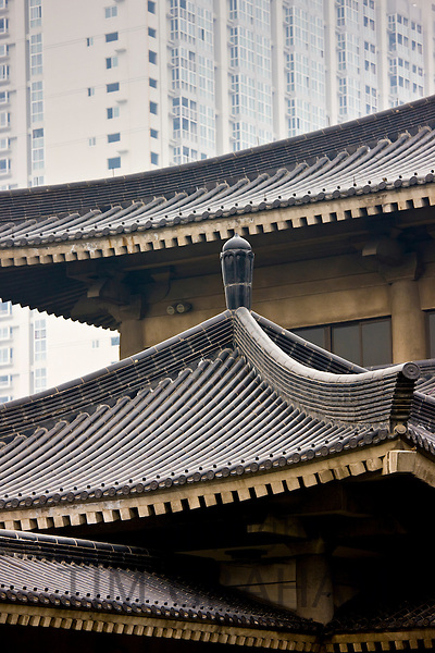 Ancient and modern architecture in Xian, China