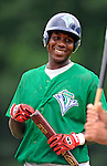 17 June 2008: Vermont Lake Monsters outfielder Jesus Valdez takes bating practice prior to the Opening Day game against the Oneonta Tigers at historic Centennial Field in Burlington, Vermont. The Lake Monsters defeated the Tigers 6-4 in the first game of their three-game season opening series in Vermont...Mandatory Credit: Ed Wolfstein Photo