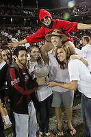 STANFORD, CA - OCTOBER 24:  Hannah Donaghe and Jeanette Pohlen with the Director's Cup during Stanford's 33-14 win over ASU on October 24, 2009 at Stanford Stadium in Stanford, California.