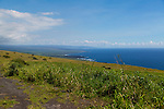 views of the Pacific ocean along the road in the district of Ka'u on the Big Island of Hawaii, USA, America