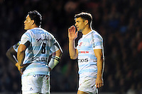 Dan Carter of Racing 92 speaks to team-mates during a break in play. European Rugby Champions Cup match, between Leicester Tigers and Racing 92 on October 23, 2016 at Welford Road in Leicester, England. Photo by: Patrick Khachfe / JMP