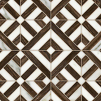 Laberinto Grand, a handmade mosaic shown in polished Calacatta and Bayard. Designed by Paul Schatz for New Ravenna.