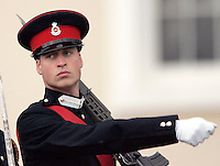 Prince William attends the Sovereign's Parade at the Royal Military Academy, Sandhurst, Berkshire..Picture: UK Press