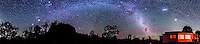 A nearly 360&deg; panorama of the southern sky, midnight, in mid December 2012, from Timor Cottage, near Coonabarabran, NSW, Australia. Taurus, the Pleiades, Jupiter and Orion are left of centre over Timor Rock, the Milky Way extends from there to the right down toward the cottage, the Large and Small Magellanic Clouds are right of centre over the cottage. Some green and red bands from airglow are visible to the south behind the cottage..This is an 8-section panorama taken with the Canon 60Da and 10-22mm lens at 10mm, at f/3.5 for 90s each at ISO 3200. Stitched with Photoshop CS6.