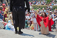 Jesus Prays for Strength to Resist Temptation by the Devil.  (Luke 4: 1-13).  Palm Sunday Re-enactment of events in the life of Jesus, by the group called Luna LLena (Full Moon), a group of volunteers in Antigua, Guatemala.