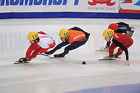 """SHORT TRACK: MOSCOW: Speed Skating Centre """"Krylatskoe"""", 15-03-2015, ISU World Short Track Speed Skating Championships 2015, Superfinal 3000m, Charles HAMELIN (#110   CAN), Sjinkie KNEGT (#148   NED), Tianyu HAN (#113   CHN), ©photo Martin de Jong"""