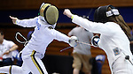 DURHAM, NC - FEBRUARY 25: Notre Dame's Amanda Sirico (left) attacks Duke's Rita Somogyi (right) in the Women's Epee championship match. The Atlantic Coast Conference Fencing Championships were held on February, 25, 2017, at Cameron Indoor Stadium in Durham, NC.