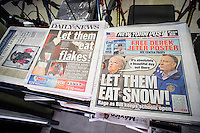 "Headlines of New York newspapers are seen on Friday, February 14, 2014 reporting on current controversy over the NYC Dept. of Education not declaring a ""snow day"" during the previous day's snowstorm.  Dept. of Education Chancellor Carmen Fariña made a statement during yesterday's news conference about it being a ""beautiful day out there"" during a lull in the storm. (© Richard B. Levine)"