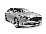 Silver 2017 Ford Fusion mid-size sedan car isolated on white background with clipping path