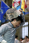 11 February 2017: Duke's Peter Yang reacts after winning a Saber match. The Duke University Blue Devils hosted the Boston College Eagles at Card Gym in Durham, North Carolina in a 2017 College Men's Fencing match. Duke won the dual match 18-9 overall, 9-0 Foil, and 6-3 Saber. Boston College won Epee 6-3.