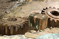 Gears from the machinery at the <br /> Sugar plantation ruins at Reef Bay<br /> Virgin Islands National Park<br /> St. John, U.S. Virgin Islands