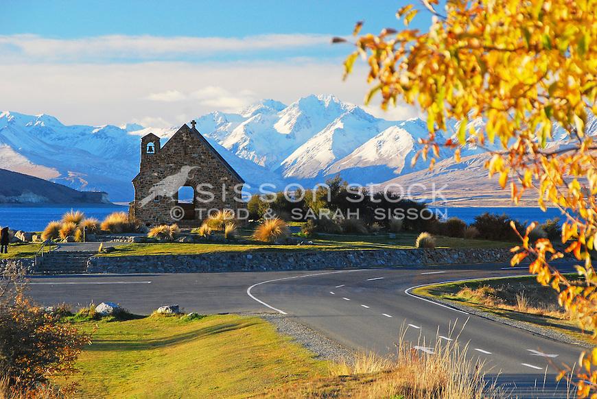 Church of the Good Shepherd in Autumn, Lake Tekapo, Canterbury, New Zealand - stock photo, canvas, fine art print