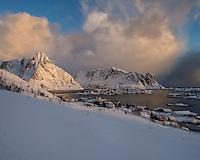 Winter storm approaching over Reine, Moskenesøy, Lofoten Islands, Norway