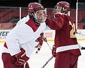 Luke McInnis (BC - 3), Matthew Gaudreau (BC - 21) - The Boston College Eagles practiced at Fenway on Friday, January 6, 2017, in Boston, Massachusetts.