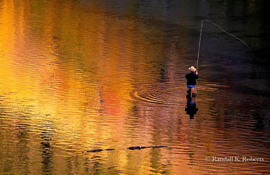 Fly fishing on Maroon Lake, near Aspen, Colorado