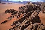 Aerial view of Wadi Rum in Jordan