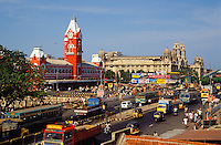 India. Madras/Chennai Railway Station and other colonial buildings. Tamil Nadu State..