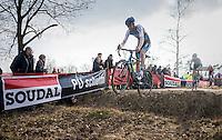 Michael Vanthourenhout (BEL/Marlux-NapoleonGames) jumping the ditch<br /> <br /> men's race<br /> CX Soudal Classics Leuven/Belgium 2017