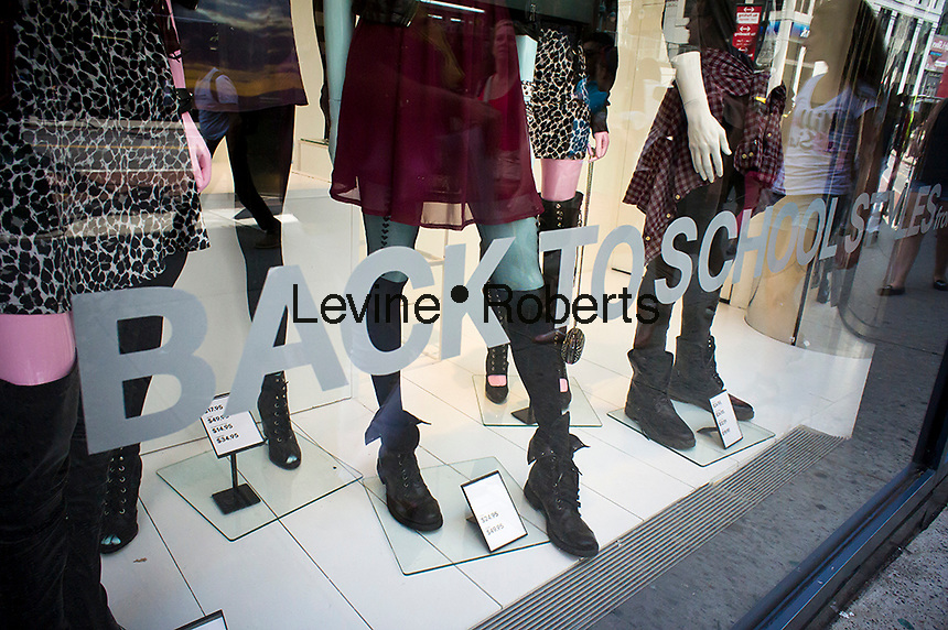 back to school window display is seen at an H&M department store in